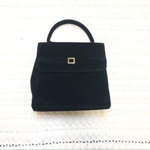 Nine West vintage mini bag purse blk gold velvet